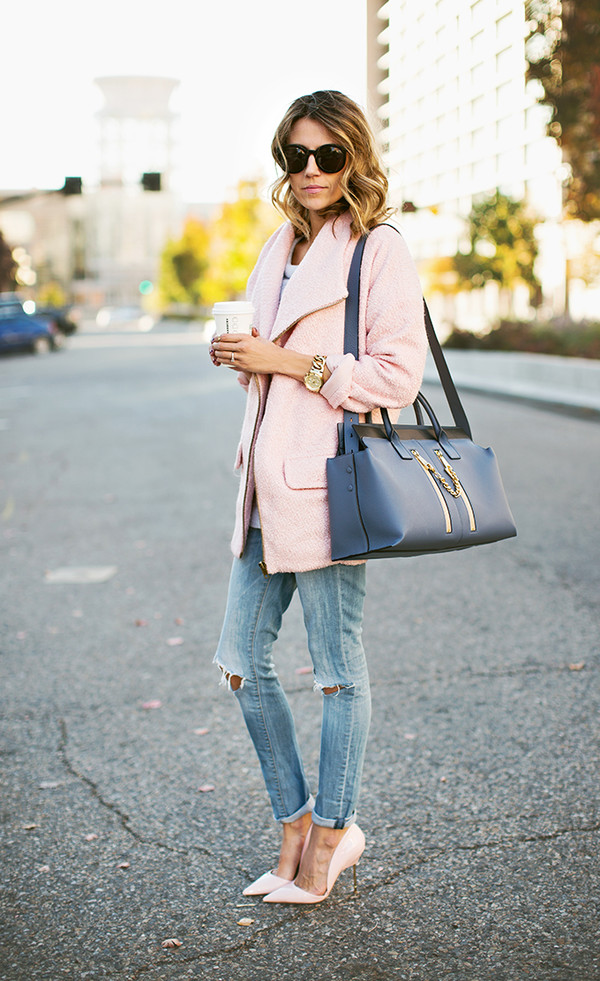 hello fashion blogger jacket cardigan bag jeans ripped jeans