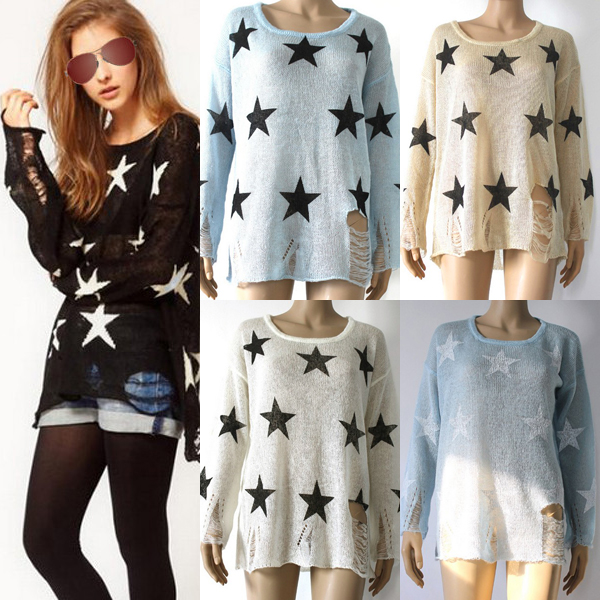Women Oversized Star Printed Distressed Frayed Jumper Hole ...