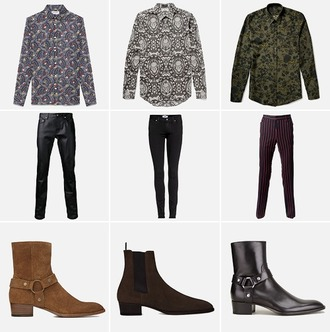 blouse black blazer white blouse printed blouse boots brown boots leather pants striped pants red pants black pants