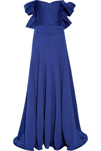 gown blue satin royal blue dress