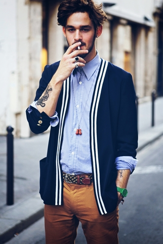 cardigan men clothing menswear men t-shirts shop button up shirt belt pants tattoo cute guy dude smoke hipster menswear