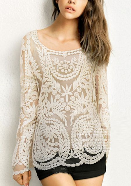 Women's lace printing loose long sleeve pure color pullover shirt online
