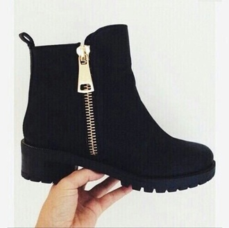 shoes black gold boot zip
