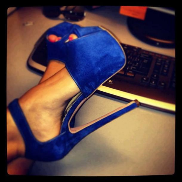 Shoes: blue high heels, royal blue heels, cute high heels, high ...