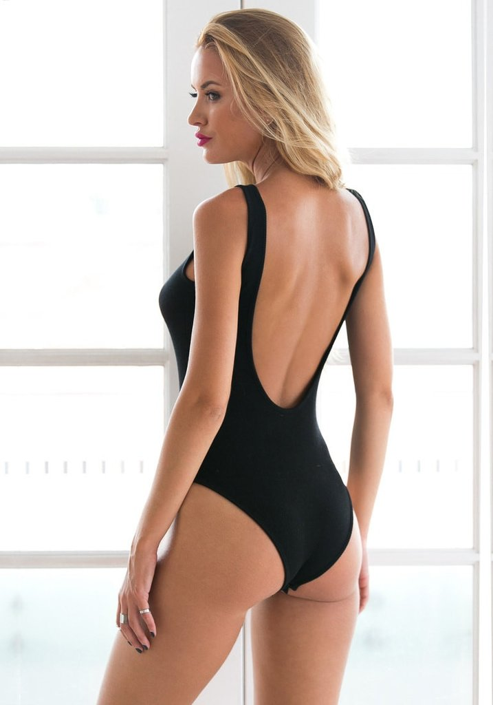 Black Ribbed Low-Back Bodysuit b713a1dba
