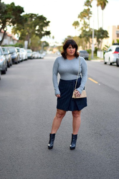 0042590c6a259 barefootinla blogger dress skirt top shoes plus size blue skirt ankle boots  plus size top