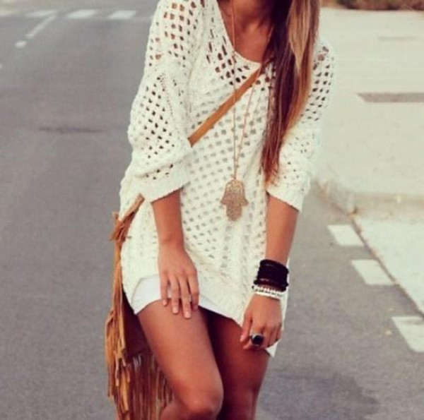 dress clothes knitwear white dress crochet sweater jewels hand jewelry gold boho hamsahand hamsa hamsa necklace hamsa charm white cream white sweater oversized white sweater knitted sweater short party dresses short dress short knitwear top loose long sleeves see through