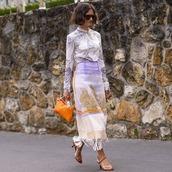 top,blouse,high neck,printed blouse,maxi skirt,printed skirt,high heel sandals,handbag,sunglasses,high waisted skirt