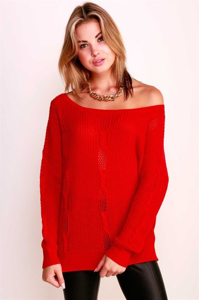 Sweater: knit, off the shoulder top, red, cable knit, betsy boo's ...