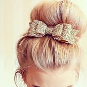 hair accessory,bows,gold,sparkle,hair bow,prom beauty,glitter,hair,accessories,hair/makeup inspo,gold glitter hair bow,blow hair clip,hairstyles,hair bun,style,fashion