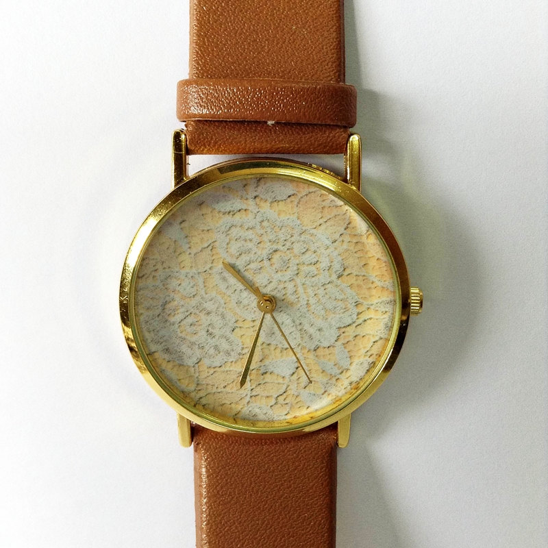 Vintage Lace Watch , Vintage Style Leather Watch, Women Watches, Boyfriend Watch, Cream Lace Print, Tan