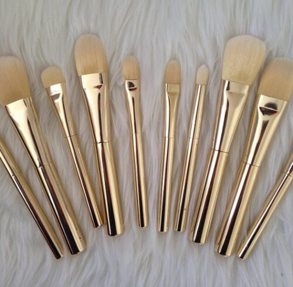 make-up makeup brushes makeup bag make-up brush gold bathroom