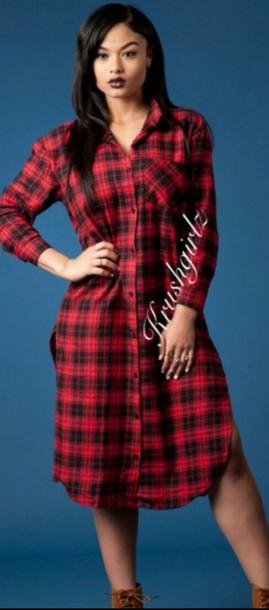 dress shirt dress plaid dress red
