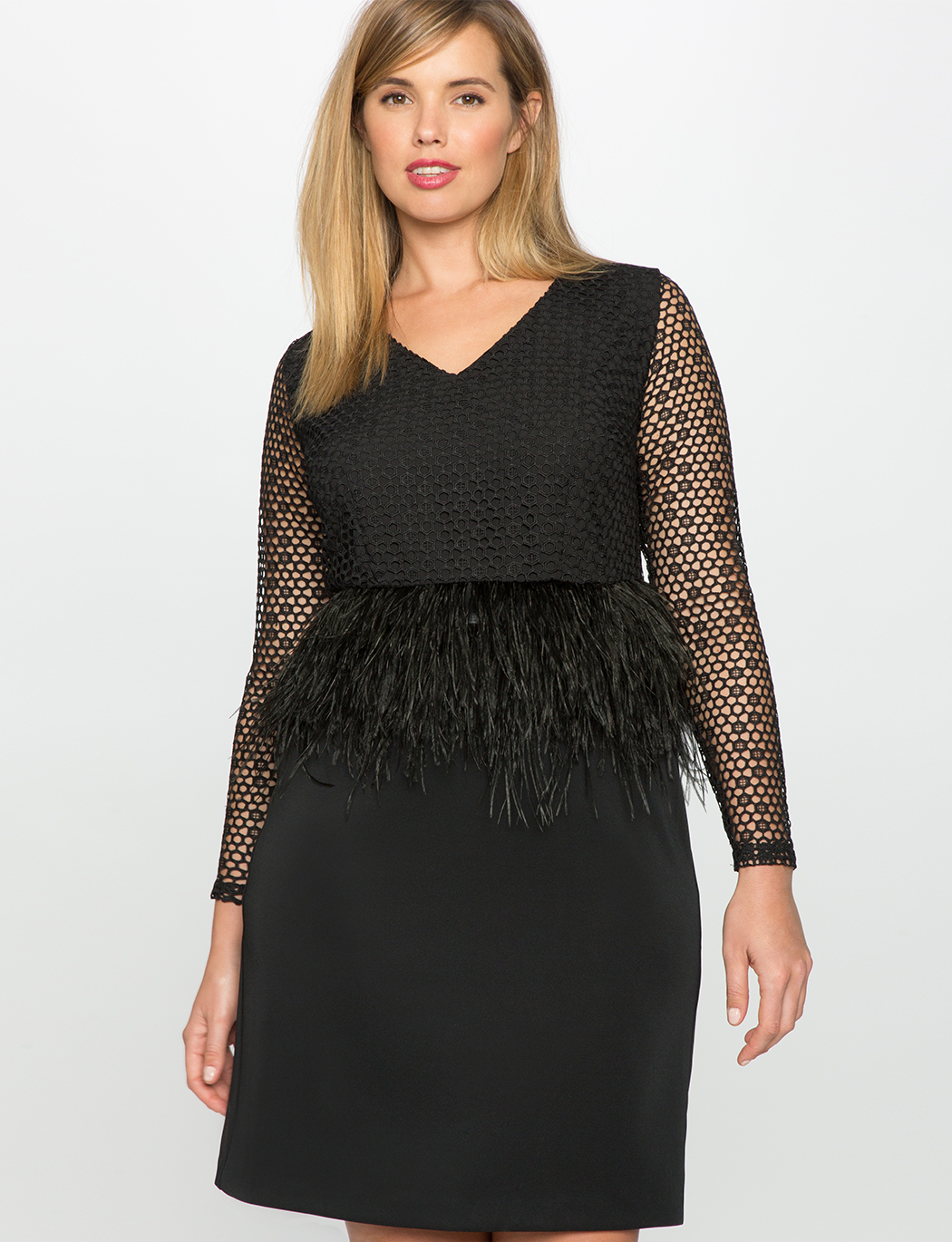Studio Feather and Lace Peplum Dress | Women\'s Plus Size Dresses | ELOQUII