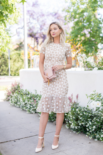 late afternoon blogger dress shoes bag jewels tumblr lace dress midi dress nude dress short sleeve short sleeve dress ankle strap ankle strap heels spring outfits spring dress date outfit spring date night outfit date dress