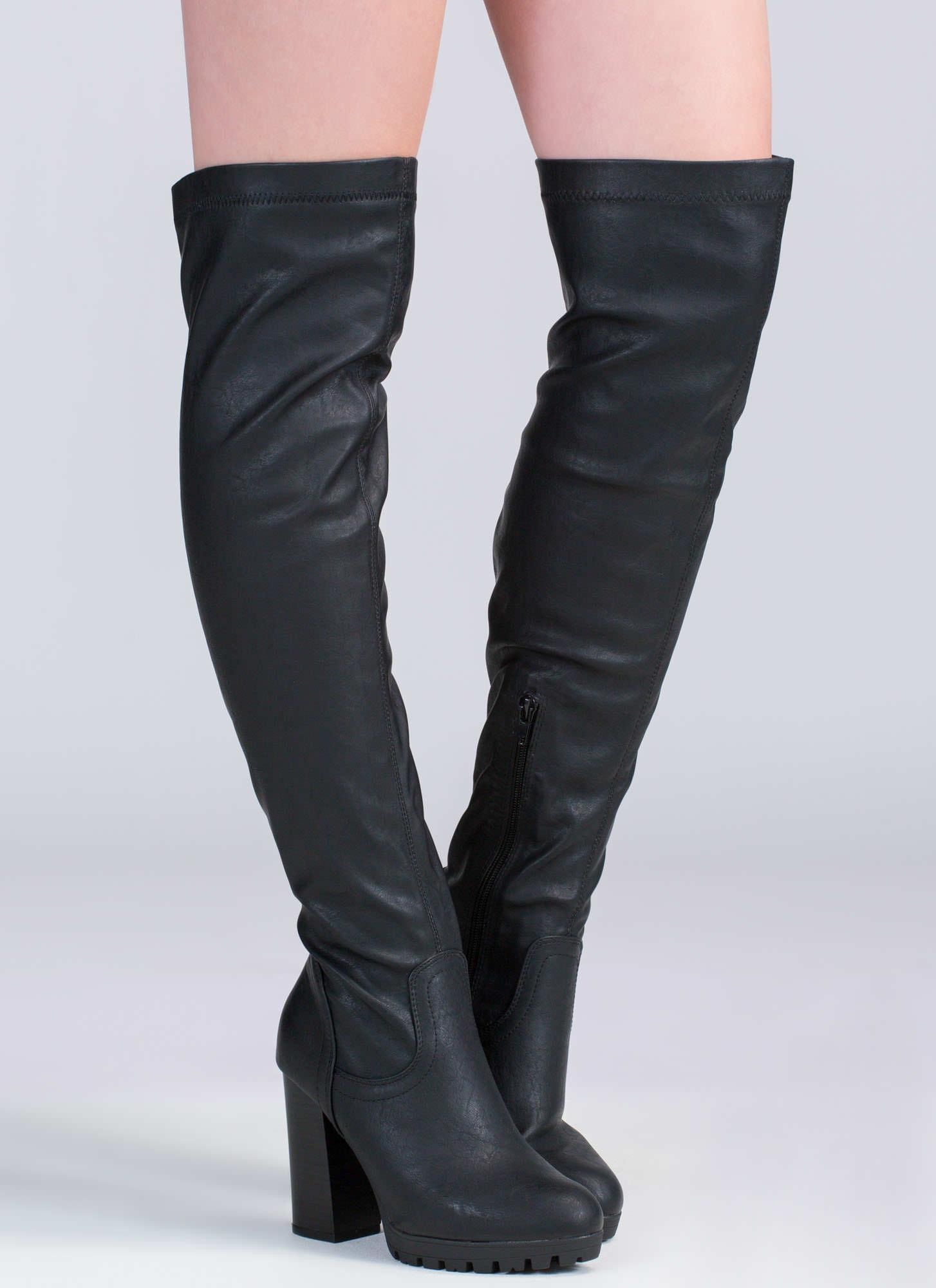 Town Over-The-Knee Lug Boots BLACK - GoJane.com