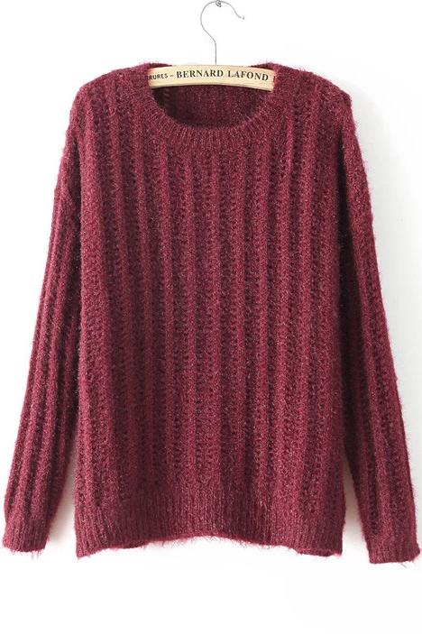 pull en tricot lâche col rond -rouge