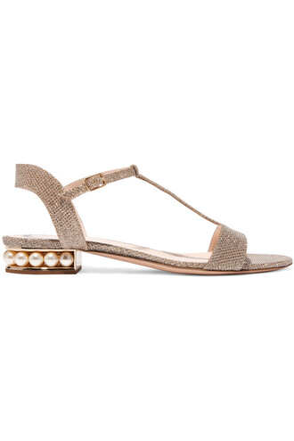 embellished sandals metallic gold shoes