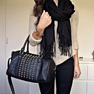 bag black satchel studs handbag sweater