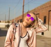 sunglasses,quay,mirrored sunglasses,aviator sunglasses,pink lipstick,satin bomber,pink bomber jacket,bomber jacket,top,white top,jacket,flowers,white shirt,tekst