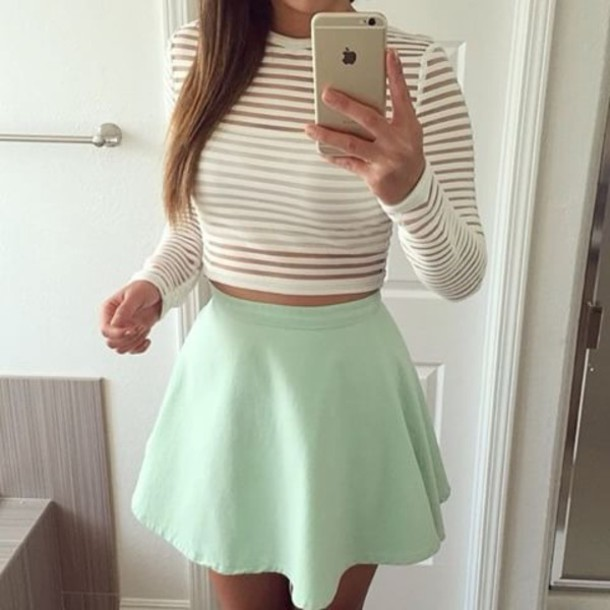 skirt top crop tops style fashion girly girl shirt sheer white crop tops blouse white crop-top longsleeve crop top stripes cute