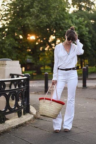 thank fifi blogger shirt jeans shoes sunglasses belt bag romper