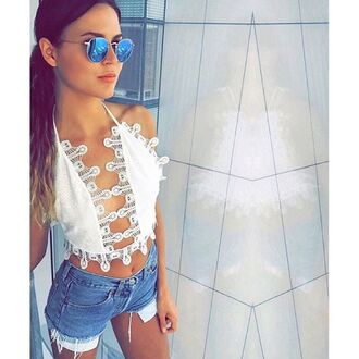 tank top le salty label top lace top white lace tank top white lace crop top crop tops white crop tops open back open back shirt eyelet lace taylor ashley