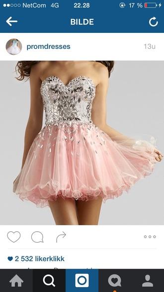 dress short dress prom dress prom pink prom dress diamonds sparkle sparkly dress short short prom dress diamods girl pink cute sweet lovely mini