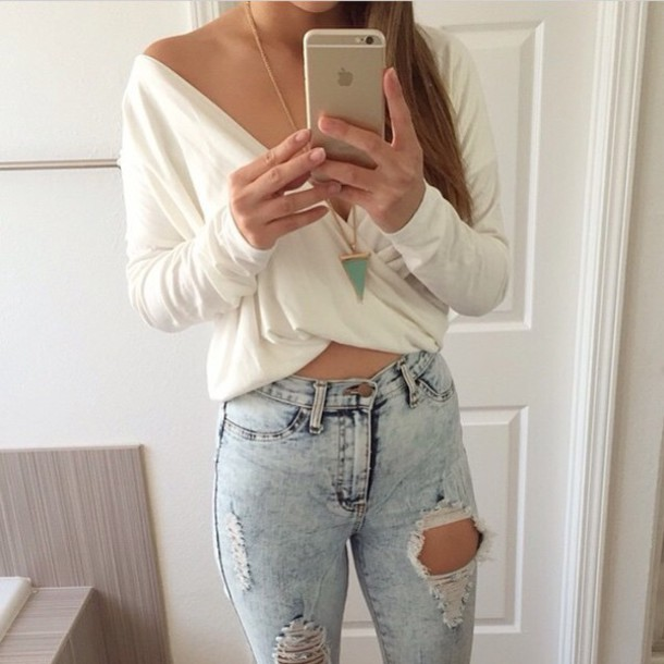 blouse ripped white top jeans ripped jeans jewels