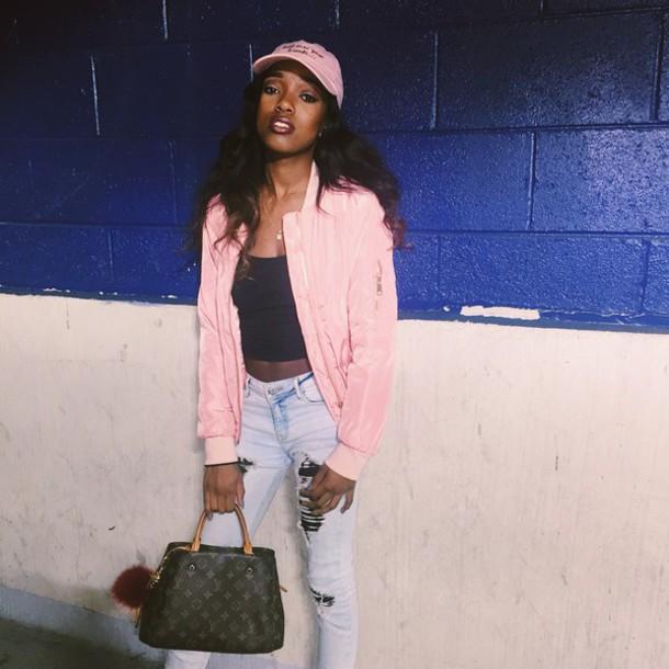 jacket louis vuitton pom pom all pink bomber jacket pink ripped jeans jeans denim pink hat louis vuitton bag face makeup long hair purse puffer jacket puffer jackets purse puffball
