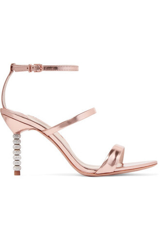 metallic embellished sandals leather sandals leather pink shoes