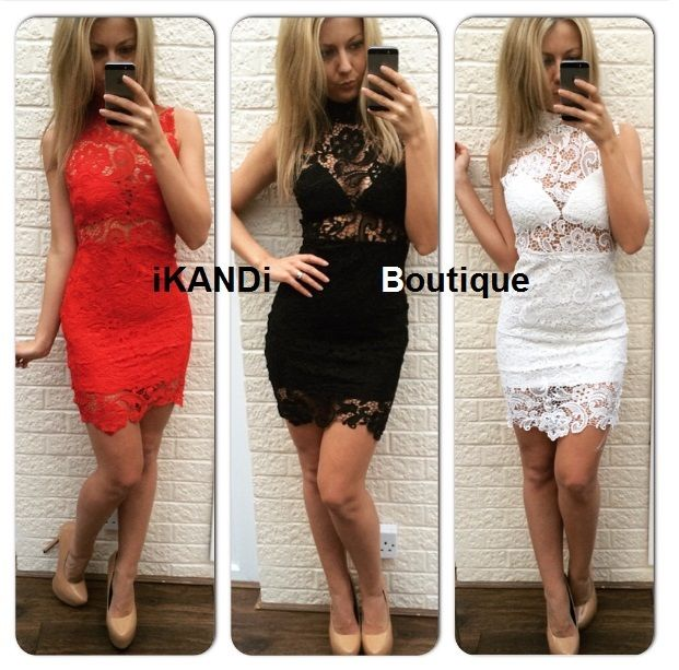 Black and white red lace dress