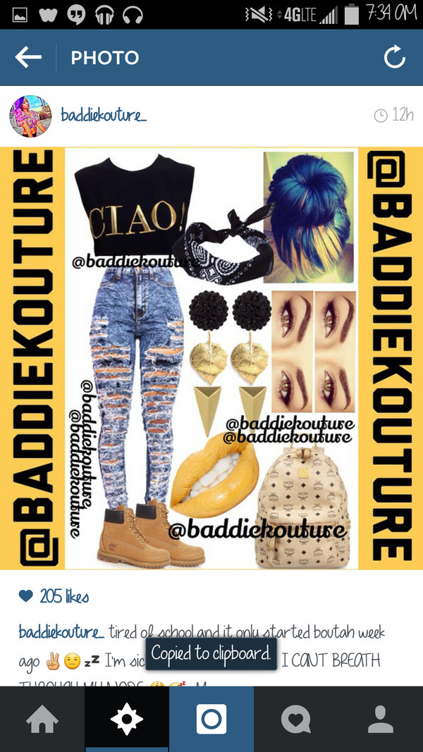 top ciao black bandana timberlands outfit outfit outfit idea outfut ideas baddiekouture_ jeans bag make-up jewels