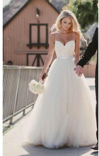 dress wedding dress princess wedding dresses spaghetti straps dress spaghetti strap chiffon skirt white dress