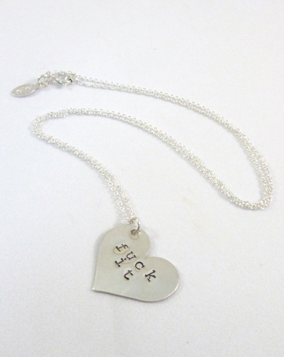 Fuck It Heart Sterling Silver Necklace by BadBadJewelry on Etsy