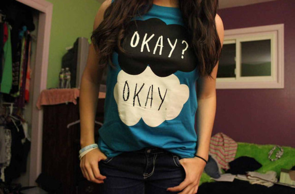 shirt t-shirt blue t-shirt blue shirt the fault in our stars okay okay? hazel grace john green tfios blue fault in our stars tank top