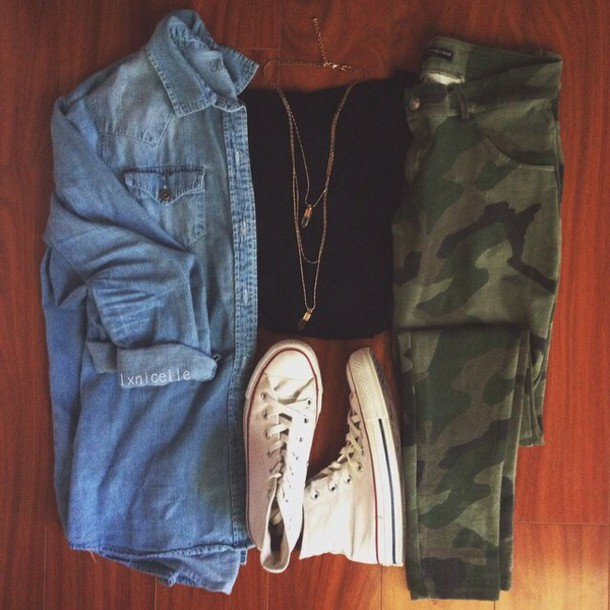 jeans camouflage blouse
