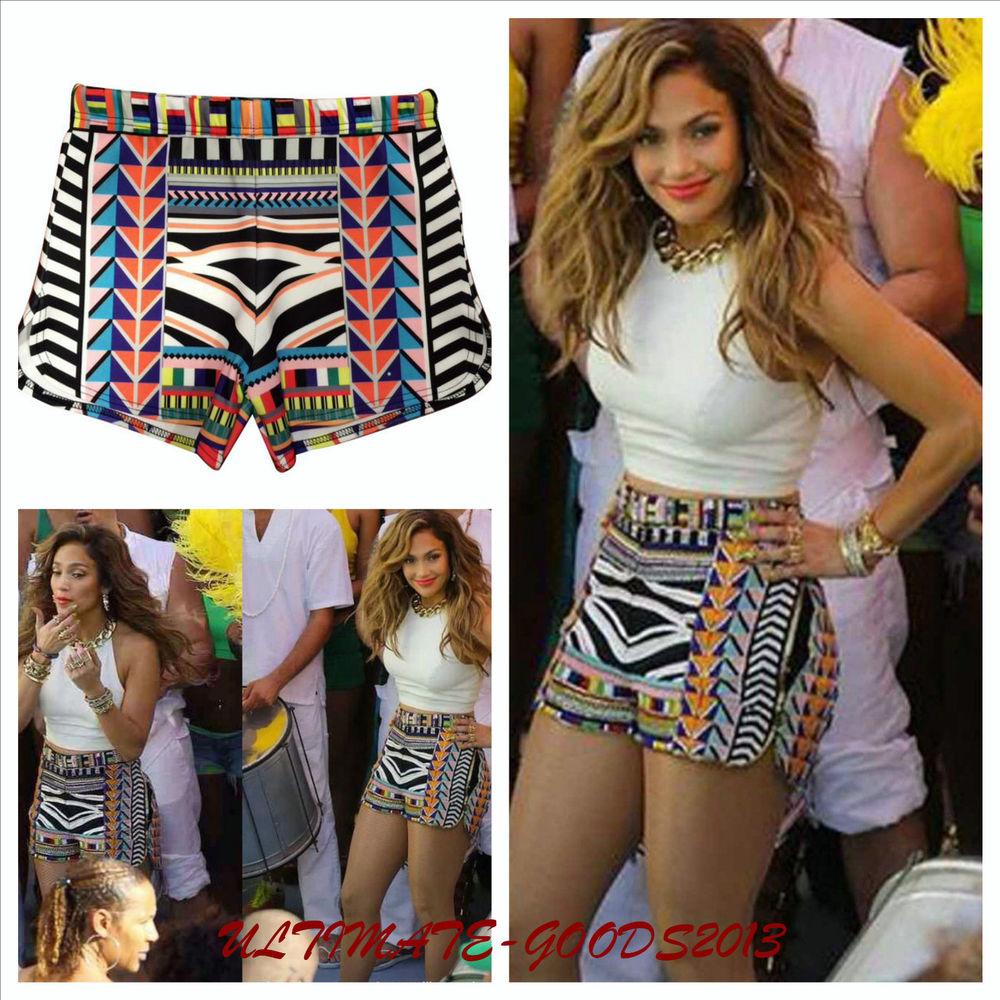 Ladies Womens Celeb Inspired Aztec Stripe Multi Print Short Hot Pant Skirt | eBay