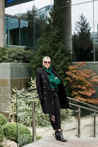the courtney kerr blogger shoes jeans sweater coat sunglasses jewels turtleneck sweater green sweater black coat winter outfits ankle boots