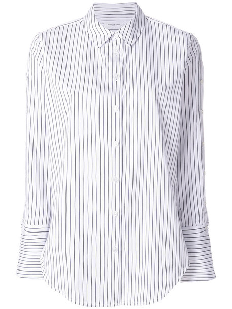 Equipment shirt striped shirt women white cotton top