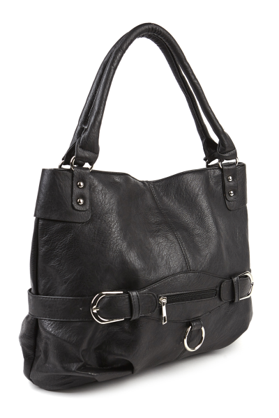 Pebbled faux leather buckle tote