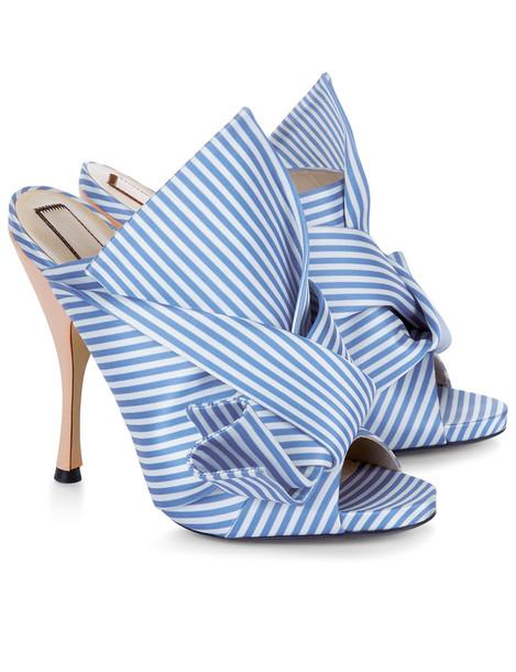 9c061e1b0f5d6 No21 Blue & White Stripe Satin Bow Mules - Wheretoget