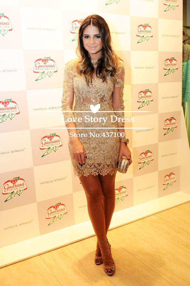 com : Buy Fashionable High Neck Long Sleeve Sexy Gold Lace Elegant ...