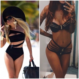 jewels earrings style sunglasses swimwear lace up high waisted bag summer outfits hot classy bikini black bikini high waisted bikini zipper zip bikini bottoms instagram jumpsuit