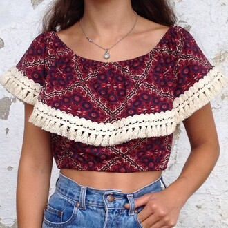 top pom poms crop tops summer outfits summer top red tumblr tumblr girl tumblr outfit girly cut-out boho boho chic necklace jeans jewels mexican print multicolor aztec tribal pattern geometric shorts blouse