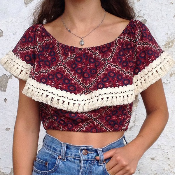 top pom poms pom poms crop tops summer outfits summer top red tumblr tumblr girl tumblr outfit girly cut-out boho boho chic necklace jeans jewels mexican print multicolor aztec tribal pattern geometric shorts blouse