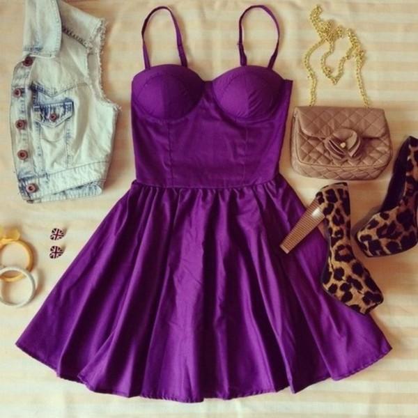 dress clothes purple dress bag shoes jewels jacket