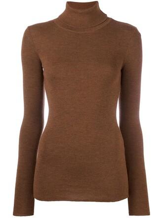 jumper turtleneck women wool brown sweater