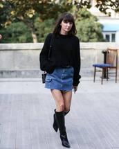 skirt,mini skirt,denim skirt,western belt,boots,black boots,knee high boots,sweater,black sweater,knitted sweater,shoulder bag