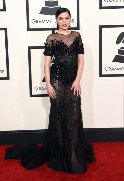 dress gown jessie j grammys 2015 black